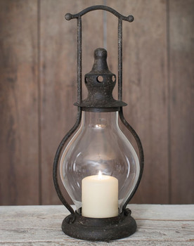 Steeple Metal and Glass Pillar Candle Lantern