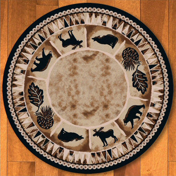 8' Northern Wildlife Brown Shades Round Rug