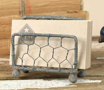 Barn Roof Chicken Wire Business Card Holders, Set of 2