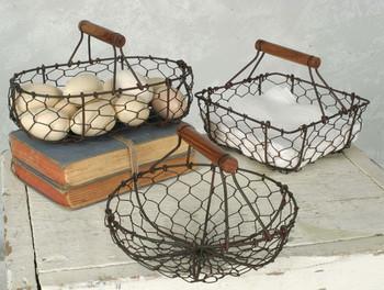 Green Rust Chicken Wire Baskets, Set of 3