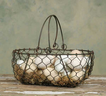 Green Rust Metal Gathering Basket