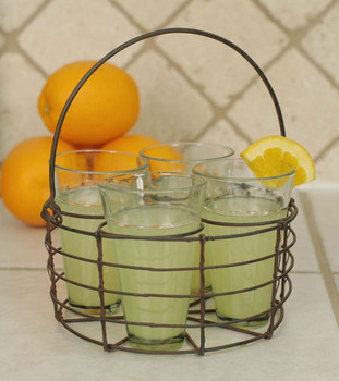 Green Rust Round Wire Basket with Four Glasses
