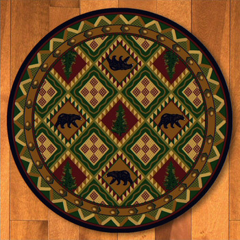 8' Quilted Forest Woodland with Bears Wildlife Round Rug
