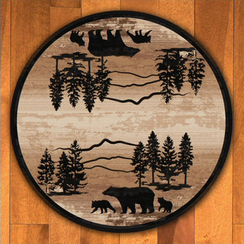 8' Mountain Shadow Bear Natural Wildlife Round Rug