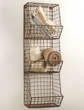 Small Green Rust General Store Wire Wall Rack Bin
