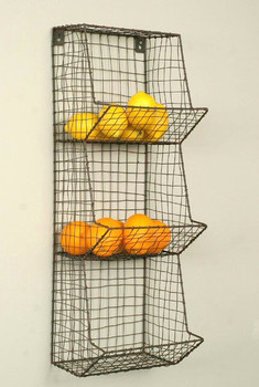 Green Rust General Store Wire Wall Rack Bin