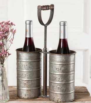 Double Metal Wine Bottle Holder Caddy with Handle