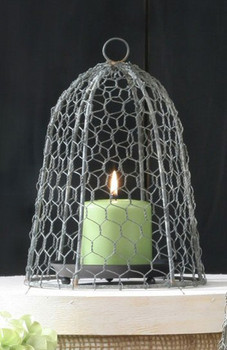 "10"" Barn Roof Chicken Wire Cloche"