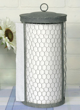 Barn Roof Chicken Wire Paper Towel Holder