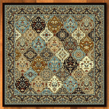 8' Badillo Multi Color Traditional Square Rug