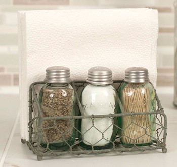 Barn Roof Chicken Wire Mason Jar Salt Pepper Toothpick & Napkin Caddy