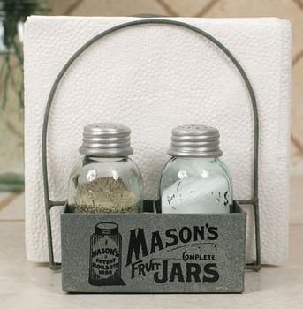 Barn Roof Mason Jar Salt and Pepper Shaker and Napkin Caddy