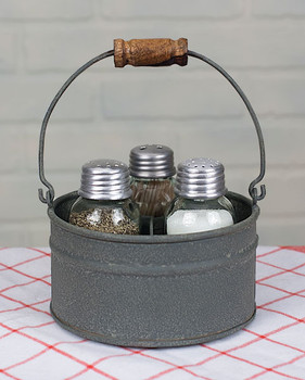 Barn Roof Round Bucket Salt & Pepper and Toothpick Caddy with Handle