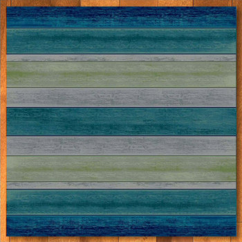 8' Bungalow Stripe Aqua Square Rug