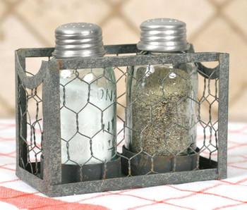 Chicken Wire Mason Jar Salt & Pepper Holder - Barn Roof, Set of 2