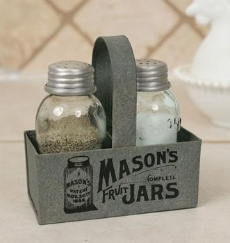 Barn Roof Mason Jar Salt and Pepper Shaker Caddies, Set of 2