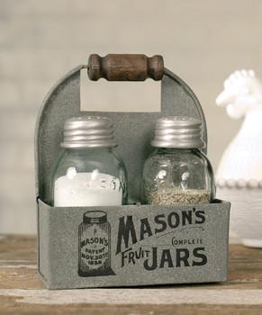 Mason Jar Salt and Pepper Shaker Caddies with Wood Handles, Set of 2