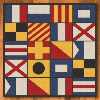 8' Nautical Signal Flag Square Rug