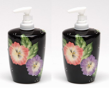 Pansy Flower Soap Lotion Pump Dispenser, Set of 2