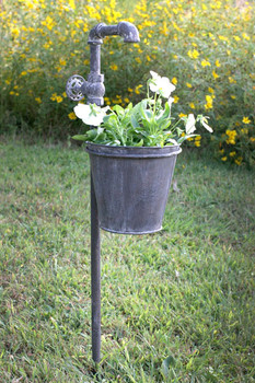 Faucet Metal Garden Stake with Planter