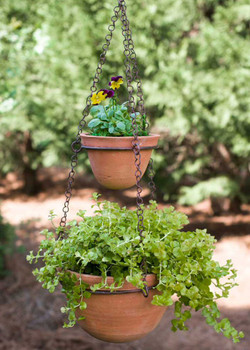 Green Rust Two Tier Hanging Planter with Terra Cotta Pots