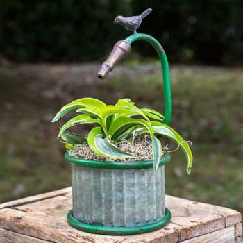 Small Garden Hose Round Metal Planter with Bird