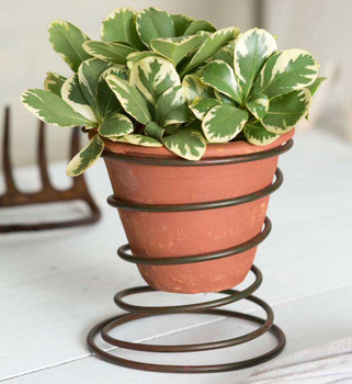 Green Rust Metal Bedspring Planters with Terra Cotta Pots, Set of 2
