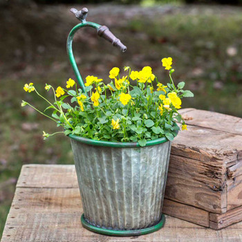 Garden Hose Tapered Metal Planter with Bird