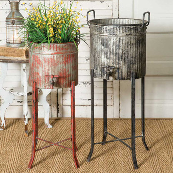 Metal Spigot Tub Planters with Stands, Set of 2