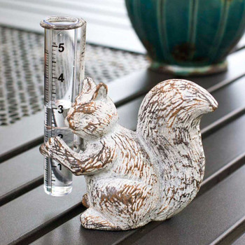 Squirrel Rain Gauge Metal Garden Statue