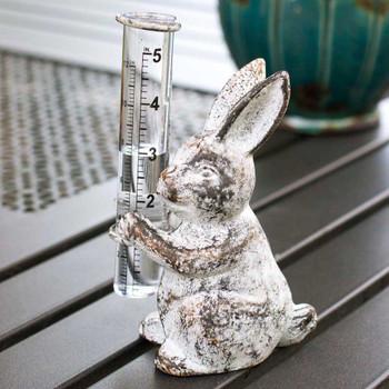 Bunny Rabbit Rain Gauge Metal Garden Statue