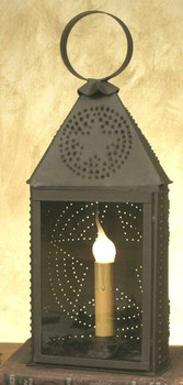 Small Rustic Brown Western Star Half Round Electric Lantern