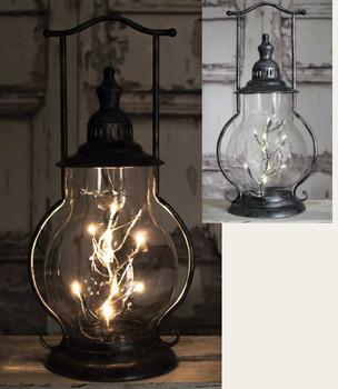 Angel Tears Steeple Metal and Glass LED Lantern