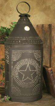 Large Rustic Brown Western Star Paul Revere Electric Lantern Lamp