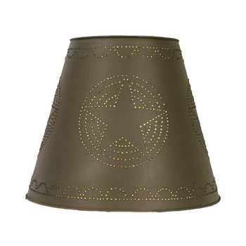 Large Western Star Tin Lamp Shade - Rustic Brown