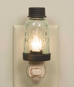 Rustic Brown Mason Jar Glass and Metal Night Lights, Set of 4