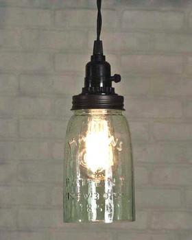 Rustic Brown Quart Open Bottom Mason Jar Pendant Lamp Light