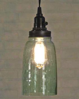 Rustic Brown Half Gallon Open Bottom Mason Jar Pendant Lamp Light