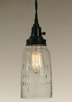 Half Gallon Clear Glass Open Bottom Mason Jar Pendant Lamp Light