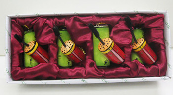 Mascara Christmas Tree Ornaments by Babs, Set of 4