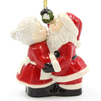 Santa and Mrs. Claus Kissing Christmas Tree Ornaments, Set of 2