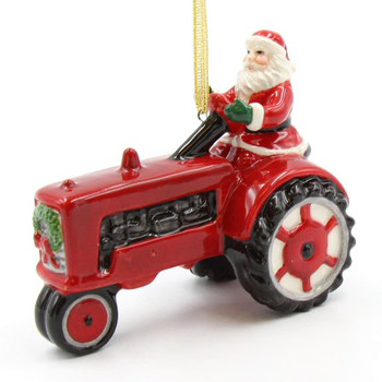 Santa Driving a Tractor Christmas Tree Ornaments, Set of 2