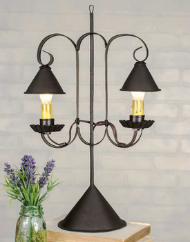 Rustic Brown Double Table Lamp with Hanging Shades