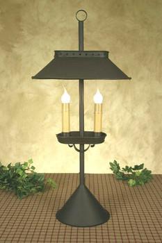 Large Rustic Brown Double Light Desk Lamp