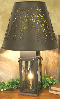Large Milk House 4-Way Table Lamp with Tin Willow Tree Shade