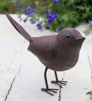 Green Rust Songbird Metal Sculptures, Set of 4