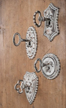 Vintage Key Metal Wall Hooks, Set of 4