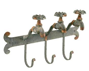 Textured Dark Grey Water Faucet Metal Wall Hook