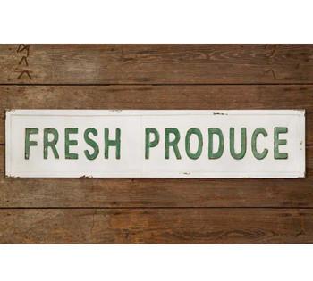 Fresh Produce Embossed Metal Sign