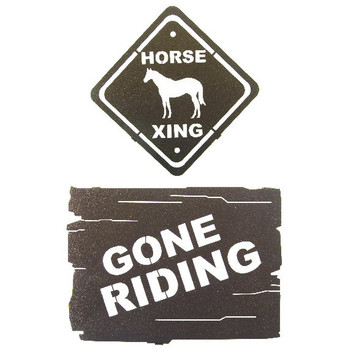 "10"" Horse Crossing and Gone Riding Metal Wall Art, Set of 2"